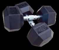 Body Solid Rubber Hex Dumbbells, 85lb Pair- CS