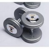 Troy 10 lb. fixed pro-style dumbbells, straight handle, hammertone grey plate, chrome end cap