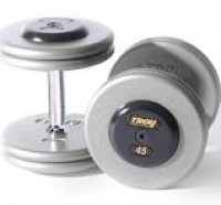 Troy 10 lb. fixed pro-style dumbbells, straight handle, hammertone grey plate, rubber end cap